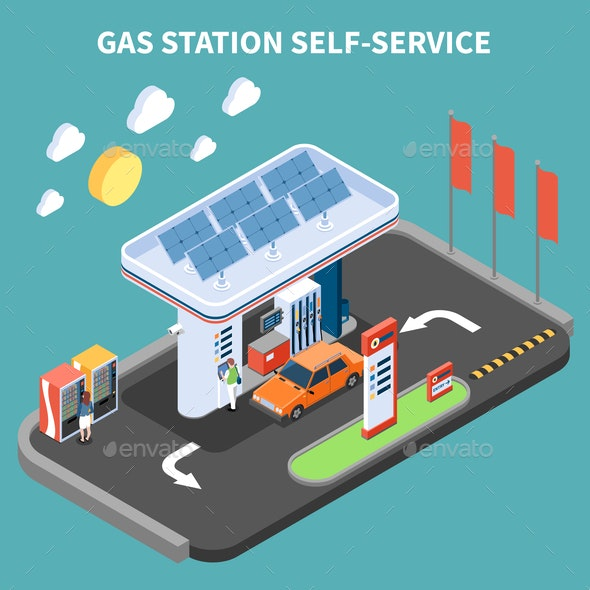 Gas Station Self Service Composition - Industries Business