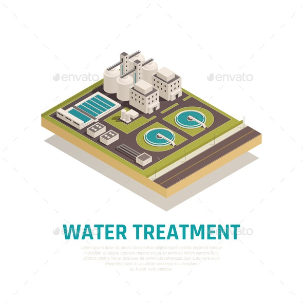 Water Treatment Isometric Composition - Buildings Objects