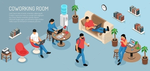Coworking At Home Background - Miscellaneous Vectors