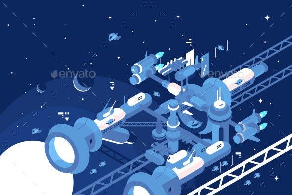 Orbital Stations Orbiting Moon - Technology Conceptual