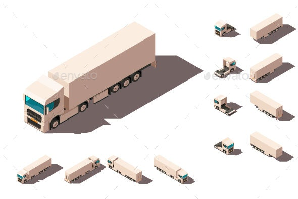 Isometric 3d Set Big Truck with Box for Delivery - Man-made Objects Objects
