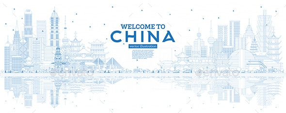 Outline China Skyline with Blue Buildings and Reflections. - Buildings Objects