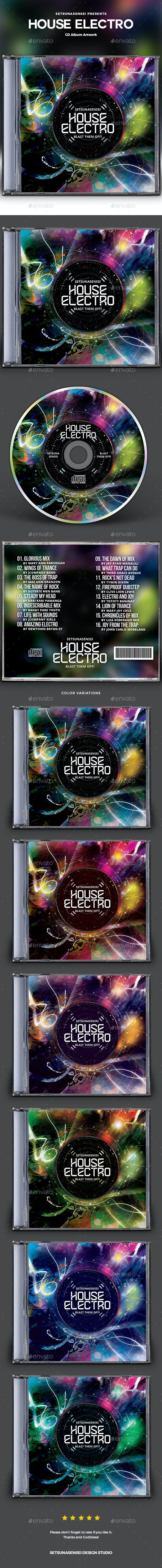 House Electro CD Album Artwork - CD & DVD Artwork Print Templates
