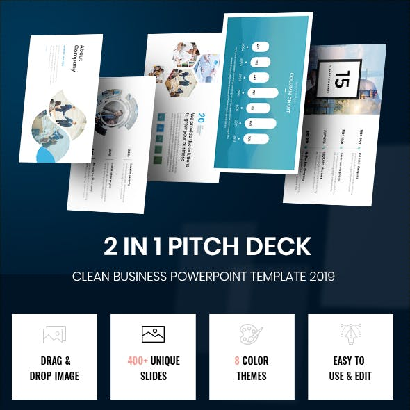 Bundle 2 in 1 Smart Pitch Deck Powerpoint Template 2019