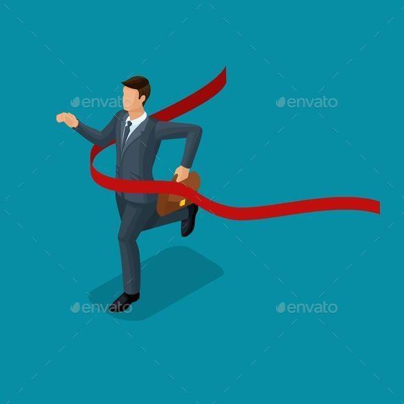 Isometric Businessmen Movement Make the Grade - Business Conceptual
