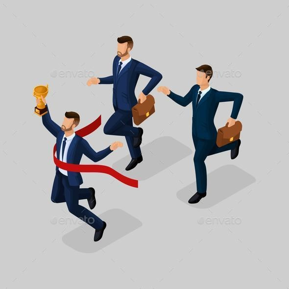 Isometric 3d Businessmen with Different Motion - Business Conceptual