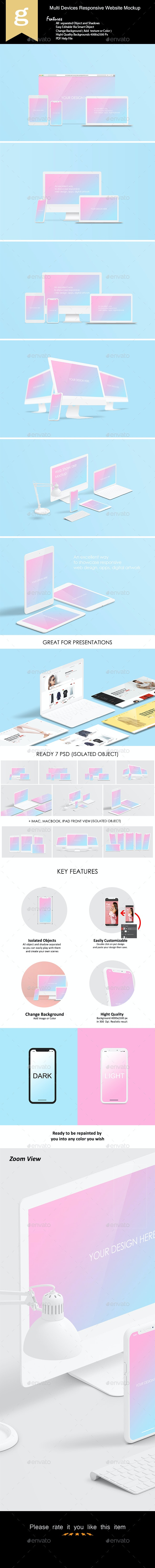Multi Devices Responsive Website Mock-Ups - Displays Product Mock-Ups
