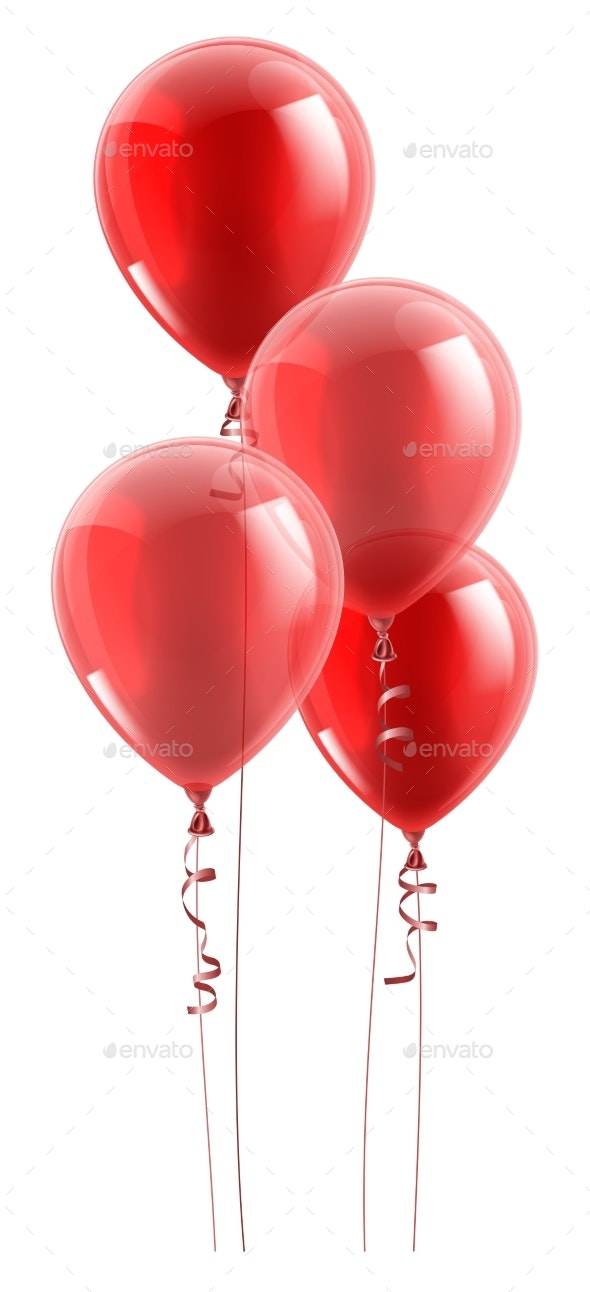 Red Party Balloons Graphic - Miscellaneous Vectors