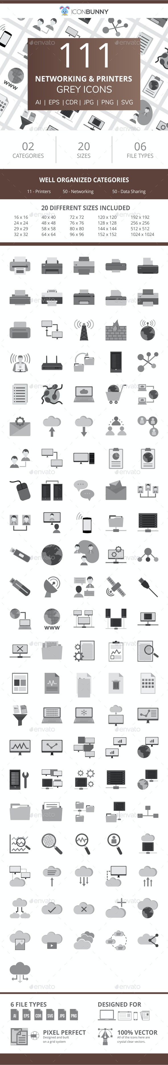 111 Networking & Printers Flat Greyscale Icons - Icons