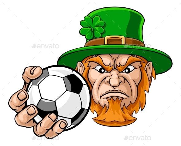 Leprechaun Holding Soccer Ball Sports Mascot - Sports/Activity Conceptual