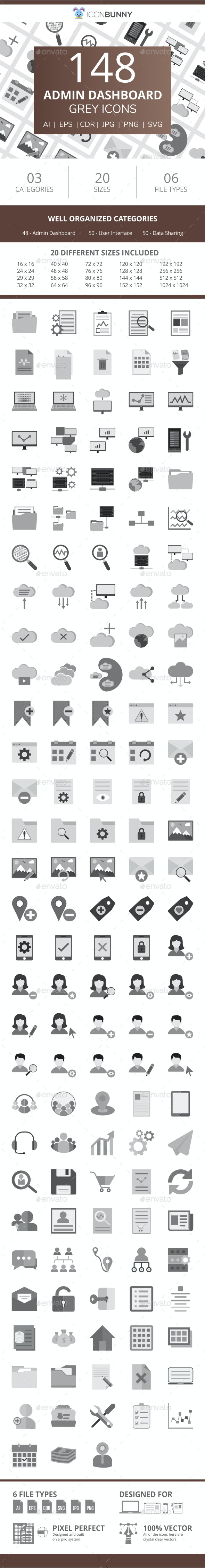 148 Admin Dashboard Flat Greyscale Icons - Icons