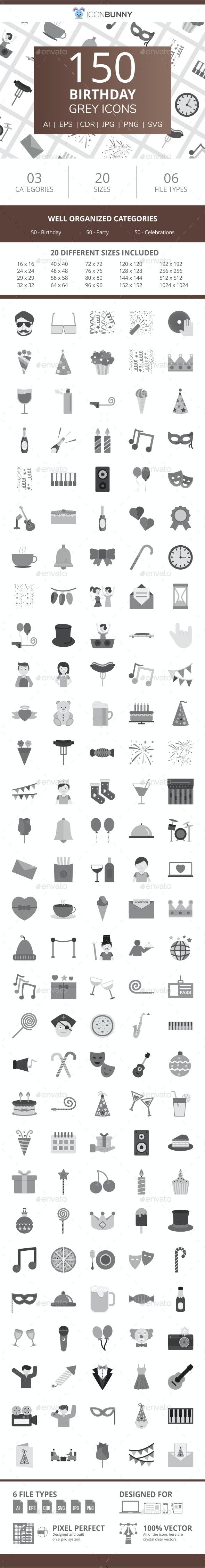 150 Birthday Flat Greyscale Icons - Icons