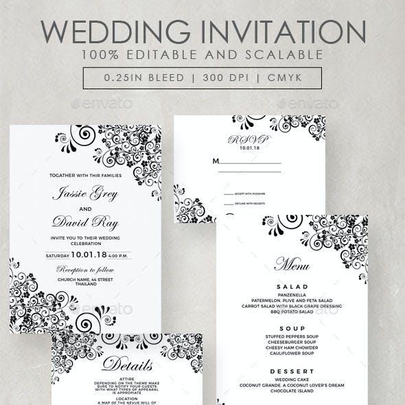 Vintage Flourish Wedding Invitation Suite