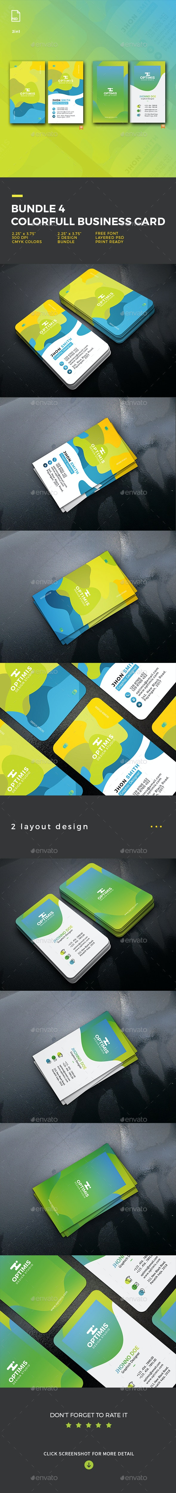 Bundle 4 Colorfull Business Card - Business Cards Print Templates