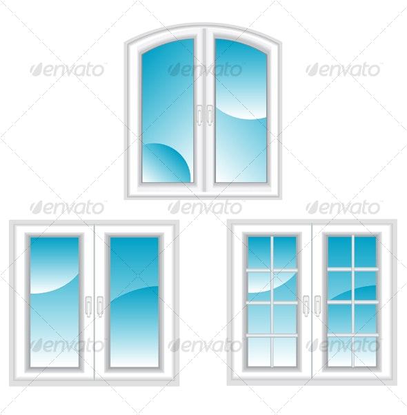 Plastic polymer windows - Objects Vectors