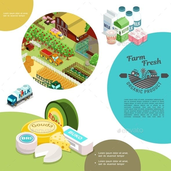 Isometric Agriculture Colorful Template