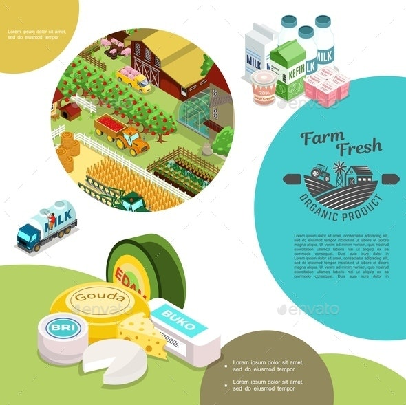 Isometric Agriculture Colorful Template - Food Objects