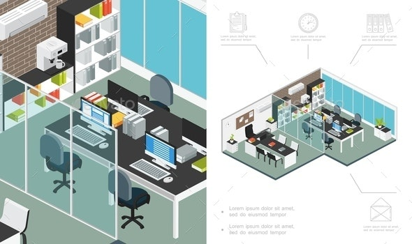 Isometric Office Workspace Concept - Business Conceptual