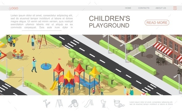 Isometric Children Playground Web Page Template - Buildings Objects