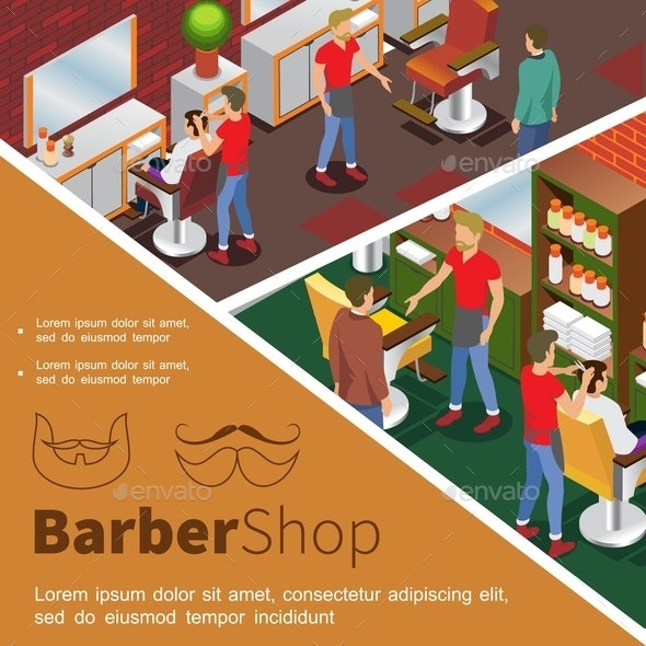 Isometric Barbershop Colorful Concept - People Characters