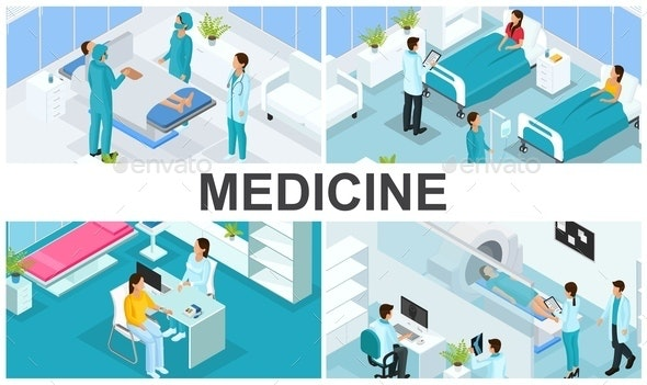 Isometric Healthcare Colorful Composition - People Characters