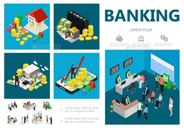 Isometric Bank Infographic Concept - People Characters