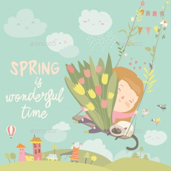 Girl Sitting on Swing with Spring Flowers - People Characters