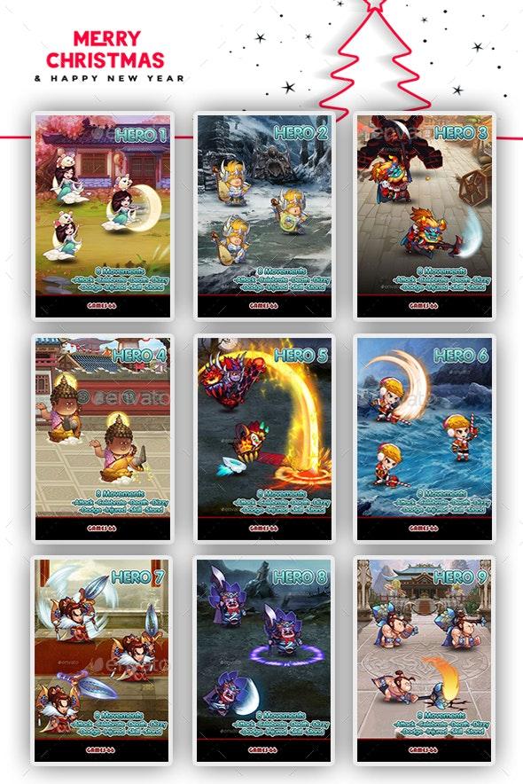 Pack - 9 Heros Sprite Set Merry Christmas - Sprites Game Assets