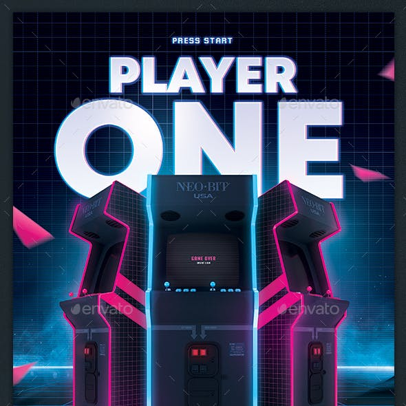 Video Games Flyer 80s Retro Arcade Gaming Poster Template