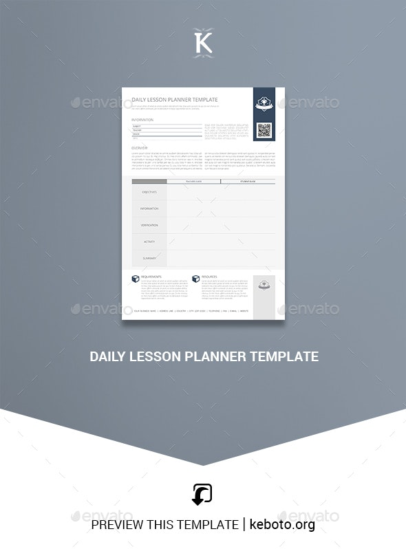 Daily Lesson Planner Template - Miscellaneous Print Templates