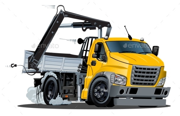 Vector Cartoon Truck with Crane Isolated - Man-made Objects Objects