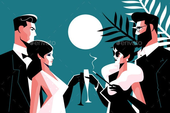 Stylish Forties Concept Party - People Characters