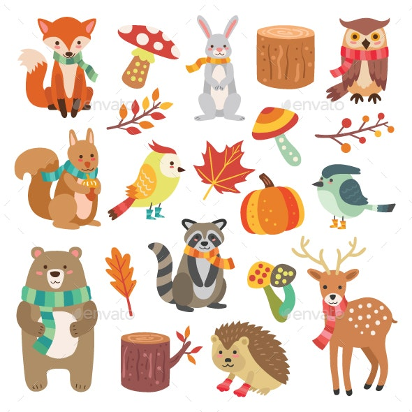 Autumn Animal Characters and Elements - Animals Characters
