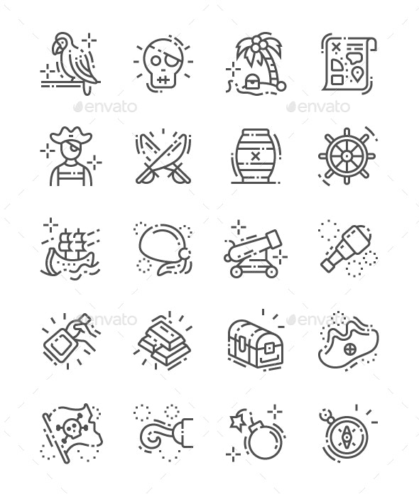 Pirate Set Line Icons - People Characters