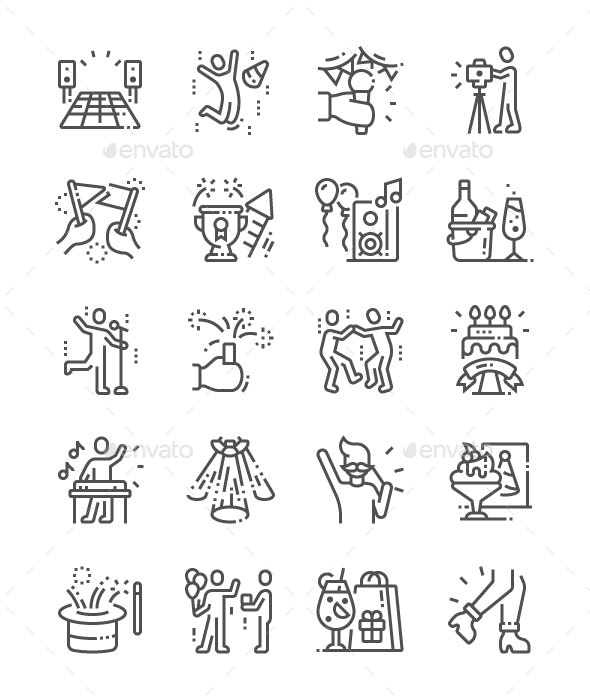 Party and Celebration Line Icons - Miscellaneous Characters