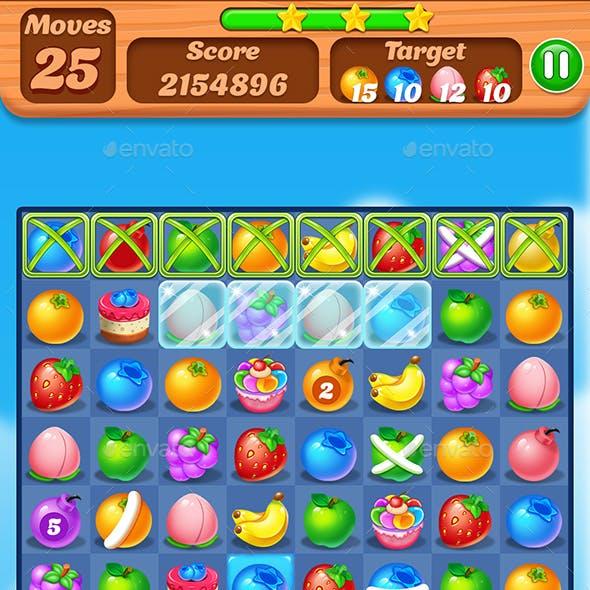 Fruit Match 3 Game Assets