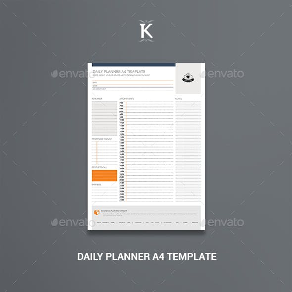 Daily Planner A4 Template