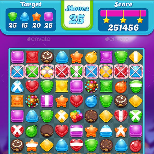 Candy Match 3 Game - All Assets