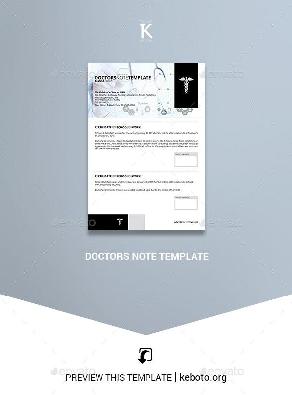 Doctors Note Template - Miscellaneous Print Templates
