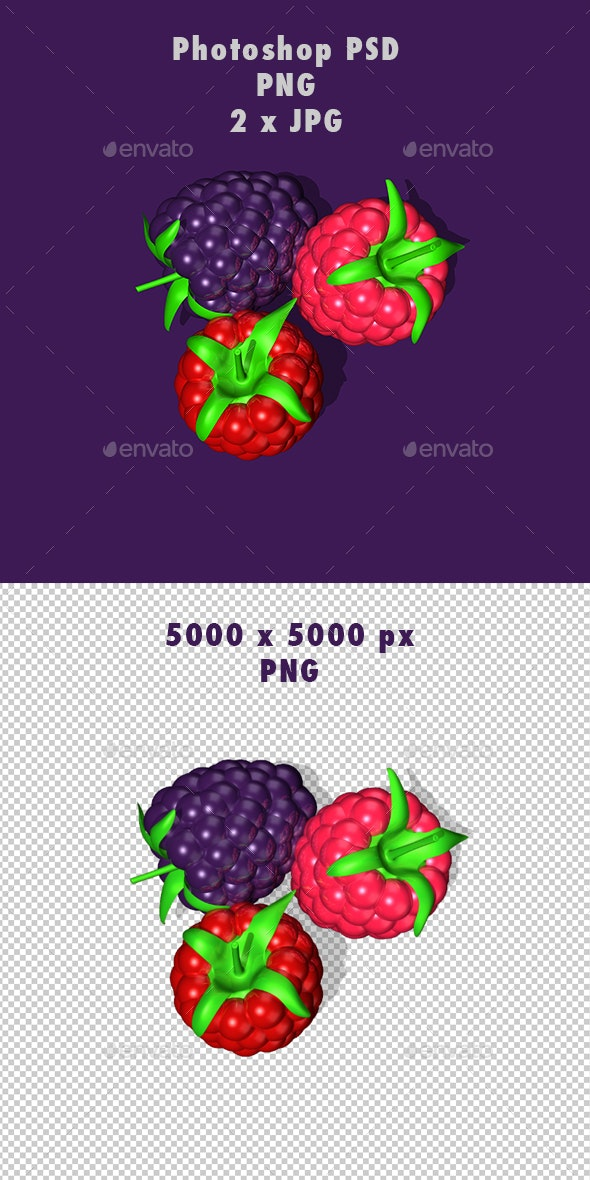 Berry Collection on Alpha Background. 5K - Objects 3D Renders
