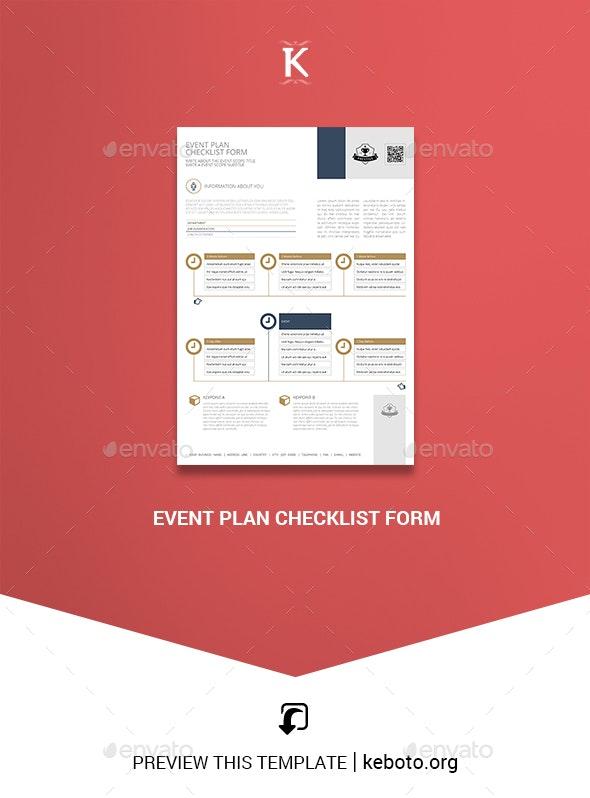 Event Plan Checklist Form - Miscellaneous Print Templates