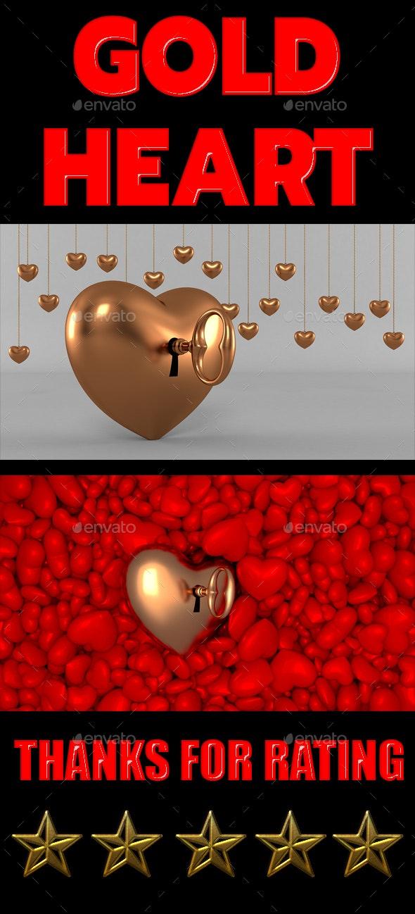 Gold Heart - 3D Backgrounds