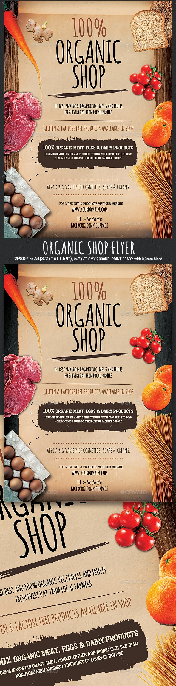 Organic Bio Shop Flyer Template - Miscellaneous Events