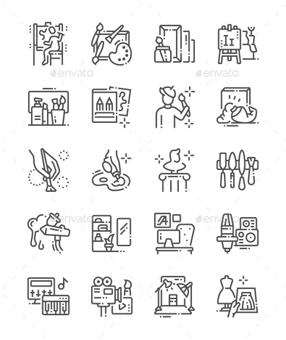 Artistic Studio Line Icons - Objects Icons