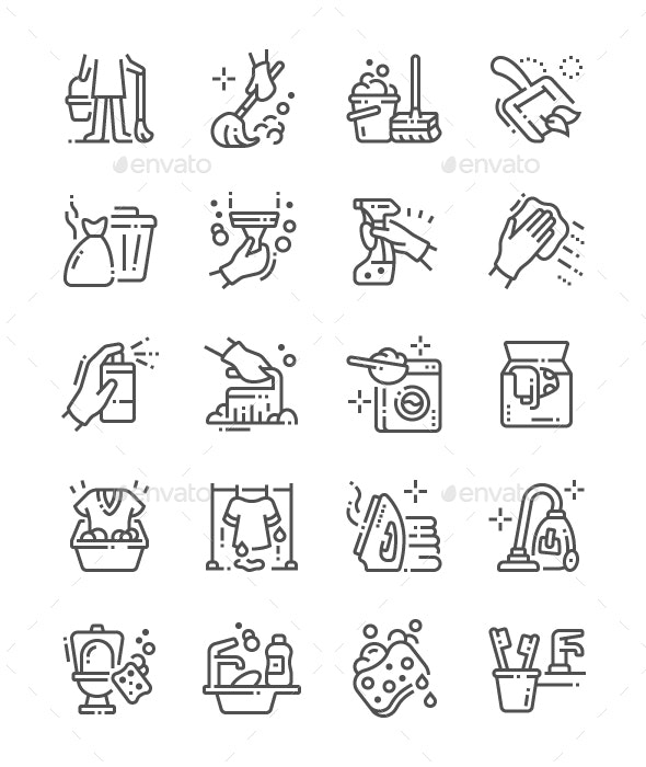 Cleaning Line Icons - Miscellaneous Characters