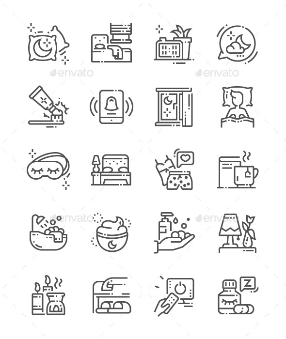 Time to Sleep Line Icons - People Characters