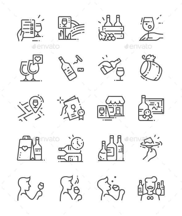 Wine Line Icons - Food Objects