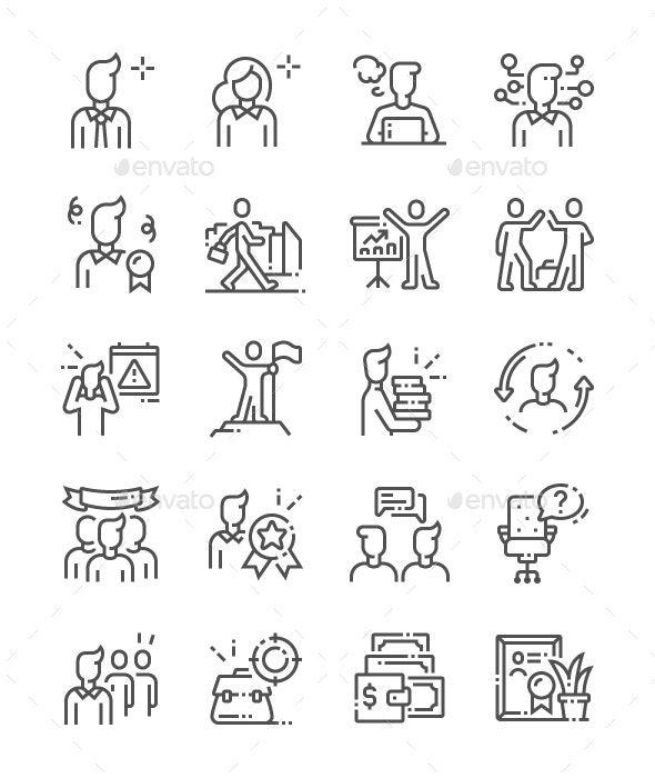 Office Workers Line Icons - Business Icons