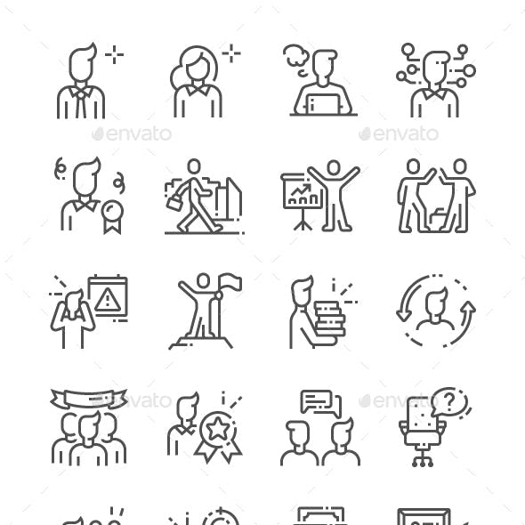 Office Workers Line Icons
