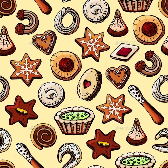 Christmas Seamless Texture with Sweets - Food Objects